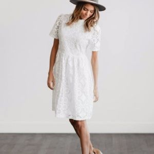 Clad & cloth white mock neck floral lace dress